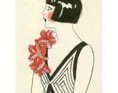 Fashion Illustration - Art Deco Print - 4 for 3 SALE Red Corsage  - 8.3 X 11.7 print