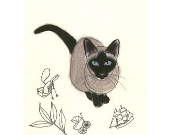 Siamese Cat Art print -  Look what I found  - 4 X 6 PRINT - 4 for 3 SALE