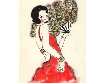 "Art Deco art print. Charlotte  - 8.3"" X 11.7"" print - 4 for 3 Sale"