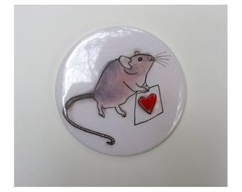Hand Mirror - Pocket Mirror - Handbag Mirror - Vanity - Mouse art Pocket Mirror - A Little Love