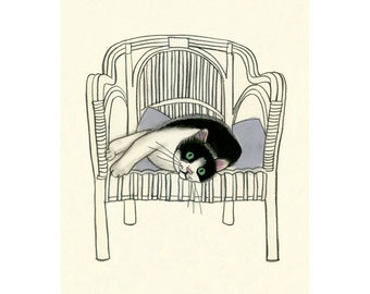 Tuxedo cat art drawing - Sunday Afternoon - 4 X 6 print - 4 for 3 SALE