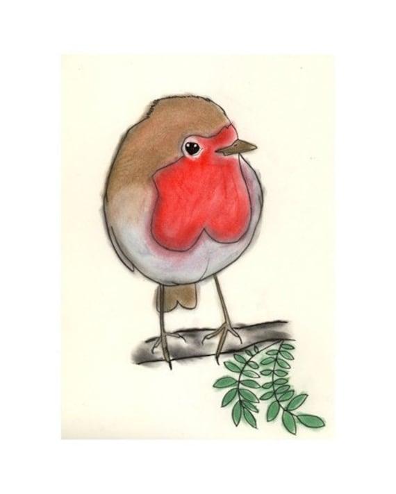 "Robin Bird Artwork -  Little Round Robin drawing (4"" X 6"" print) - 4 for 3 SALE"