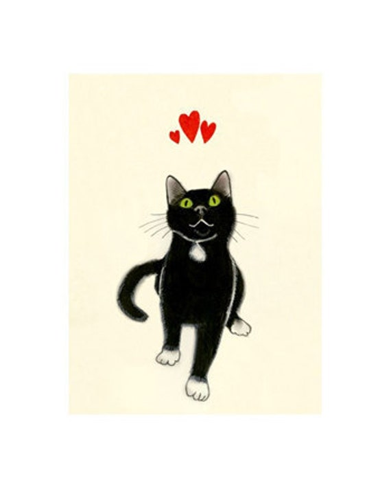 Black Cat Art -  Yours Devotedly  - 4 X 6 print - 4 for 3 SALE