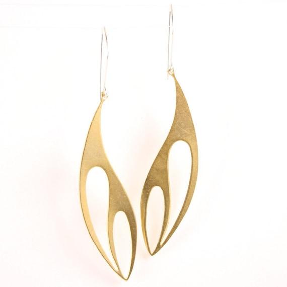 Modern gold earrings - cut brass - simple - long