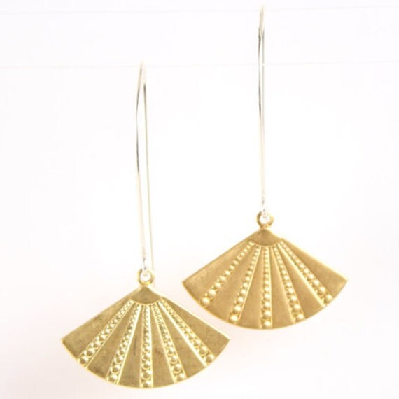 Deco Fans - gold - earrings - modern - simple