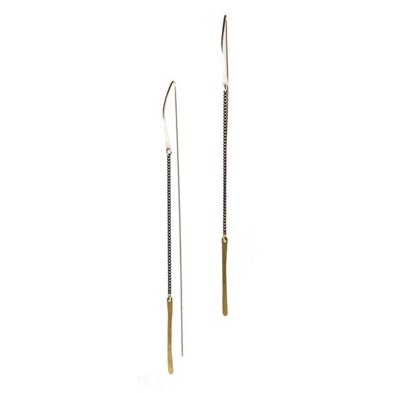 Long simple modern earrings  -  mixed metal - black, gold, silver
