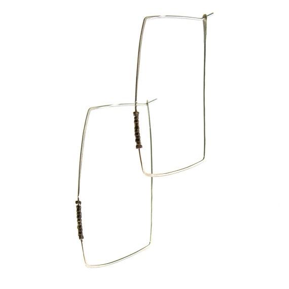 Silver rectangle hoop earrings  - minimalist - mixed metal