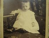 Antique Baby Photograph Portrait - Cabinet Card Photo - Circa 1890s