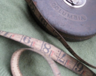 Vintage Dietzgen Columbia 75' Tape Measure Hand Crank, Leather Bound