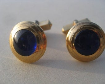 Late 1940s Swank Cuff Links with Beautiful Blue Cabochon Stones - 1-20 12K Gold Filled