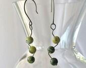 I'll Zig, You Zag  green stone wiggle earrings