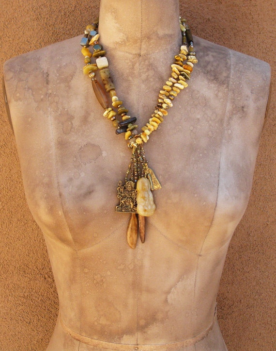 SALE Amber, Yellow Opal, Goddess Amulet, Stone, and Pearl Spirit Beads