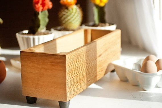 Gift Pack of Three Large Wood Herb Planters