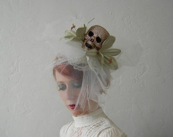 Maman Brigitte - Crystal skull , tulle, leather and lace fascinator. - Ready to ship