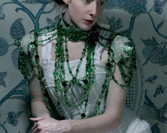 Absinthe -  Emerald Crystal Statement Necklace on Leather and Lace Collar with Secret Glass Phial. Ready to ship