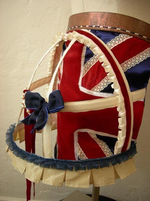 Union Jack Bustle Belt  - Vintage Fabric Bustle and Cage on Vintage Leather belt -  To Order
