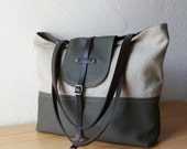 2-Tone Tote in Hemp and Olive Canvas with Leather Straps