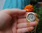 Gold Tone Coin Pin with Chains (Free Shipping)