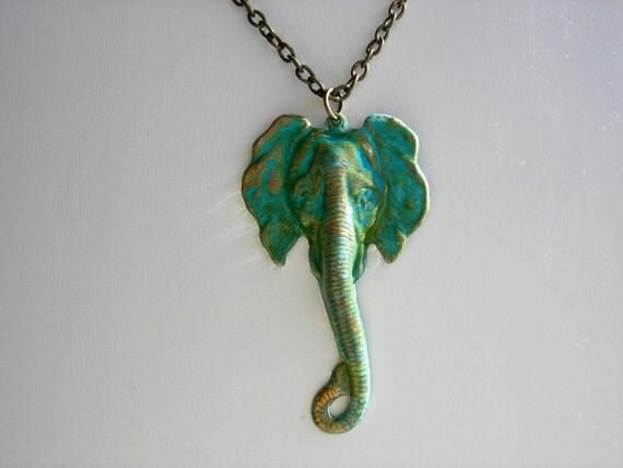 Elephant Head Pendant Necklace - Blue Green Brass Patina - Bronze Chain-Gift Idea
