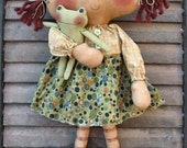 Froggie Ann EPATTERN... primitive country raggedy cloth doll craft digital download sewing pattern...PDF... 1.99