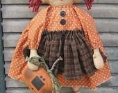 Pumpkin Annie EPATTERN - primitive country halloween pumpkin annie cloth doll craft digital download sewing pattern - 1.99 - PDF