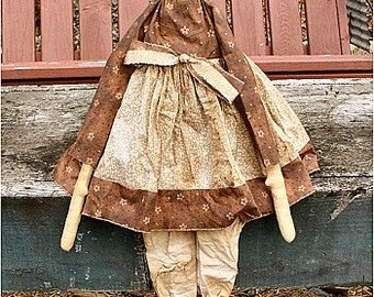Kate EPATTERN - primitive country cloth doll craft digital download sewing pattern - PDF - 1.99