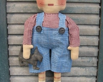 Andy and Dog EPATTERN...country primitive cloth doll craft digital download sewing pattern...PDF...1.99