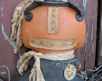 Pumpkin Witch EPATTERN - primitive halloween cloth doll craft digital download sewing pattern - 1.99 - PDF