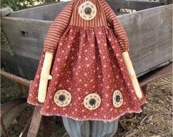 Ginnie EPATTERN - primitive country cloth doll craft digital download sewing pattern - PDF - 1.99