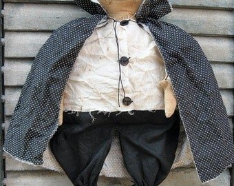 Dracula Doll EPATTERN - primitive country halloween cloth doll craft digital download sewing pattern -1.99 - PDF