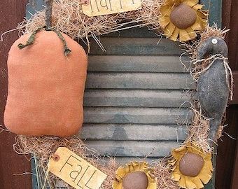 Fall Wreath EPATTERN - primitive halloween pumpkin sunflower craft decoration digital download sewing  pattern - 1.99 - PDF