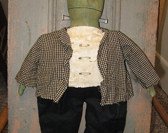 Frankenstein EPATTERN -primitive country halloween cloth doll craft digital download sewing pattern - PDF - 1.99