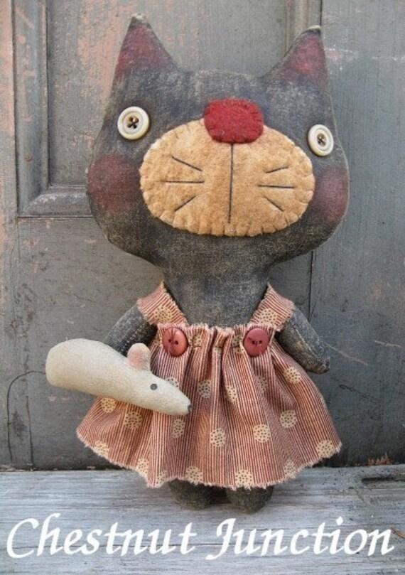 Kiki Kitty EPATTERN - primitive country cat plush cloth doll craft digital download sewing pattern - 1.99 - PDF