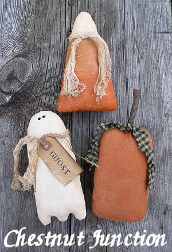 Halloweenies EPATTERN - primitive country halloween ghost pumpkin corn cloth craft digital download sewing pattern - PDF - 1.99