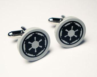 Groomsmen, Cufflinks, Wedding, Star Wars Imperial silver toned cufflinks in gift box