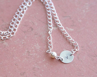 Petite Sterling Silver Charm .. Mother's Necklace . Tiny Cream Pearl . Bright Silver Chain . Custom Hand Stamped Initial . Personalized Gift