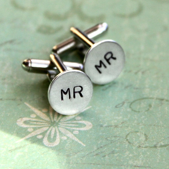 MR sterling silver cuff links .. For the Groom to Be .. Customize initials on discs .. Stylish Bachelor party favor, Wedding, gift for men