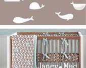 Modern Ocean Whale Wall Decal - Vinyl Whale Children's Bedroom Wall Art Room Decor Sticker - CS100A