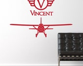 Airplane Vinyl Wall Decal Vintage Plane with Name - Bedroom Wall Decor Sticker - CB148B