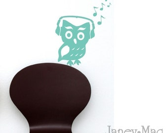Owl Wall Sticker Decal - Owl with Headphones Wall Decal - Woodland Owl Nursery Wall Decal Sticker Decor - TR100C