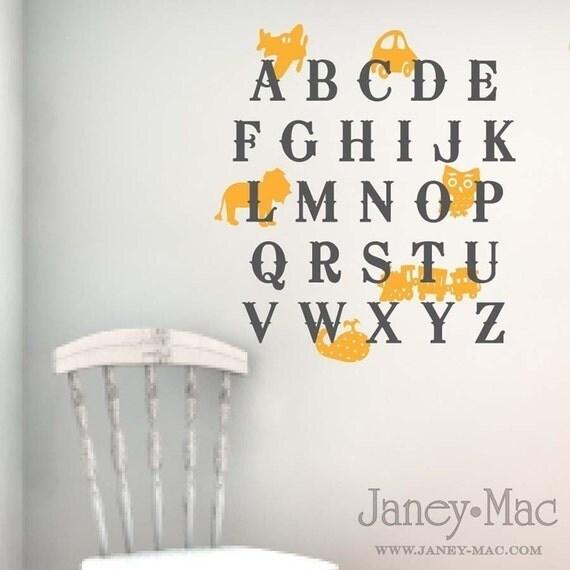 Alphabet Vinyl Wall Decal - Airplane Car Lion Owl Train Whale - Boy Cute Children's Bedroom - Nursery Sticker Room Decor - CL104A
