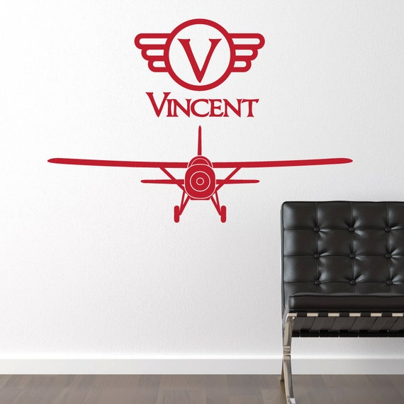 Items similar to airplane vinyl wall decal vintage boy for Airplane wall decoration
