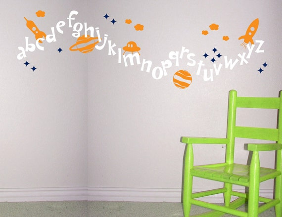 Outer space alphabet wall decal rocket alien by janeymacwalls for Outer space vinyl wall decals