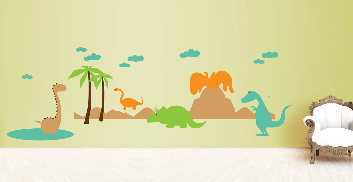 Dinosaur wall decal set dinos with volcano and by for Dinosaur land wall mural