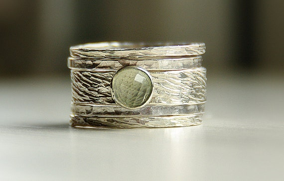 Hannah' unique rustic, earthy, distressed ring: green amethyst & sterling silver stackable / stack rings. Amythest ring