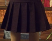 Chocolate Brown Stretch Twill Knife Pleated skirt