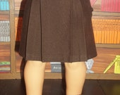 Chocolate Brown Stretch Twill Pleated Skirt
