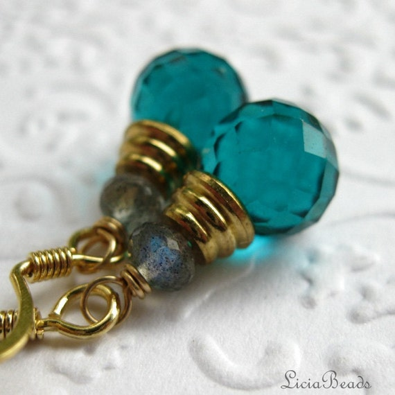 50% off clearance sale Teal quartz and labradorite gemstone earrings, briolette and gold earrings