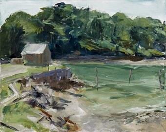 Original Painting -  Maine Landscape - Oil on Canvas - Marine Art - Impressionist Painting - 16 x 20  - York Harbor