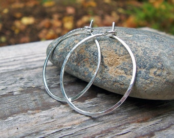 Sterling Silver Hoops - 18G Medium Hammered 1 inch Argentium Modern Classic